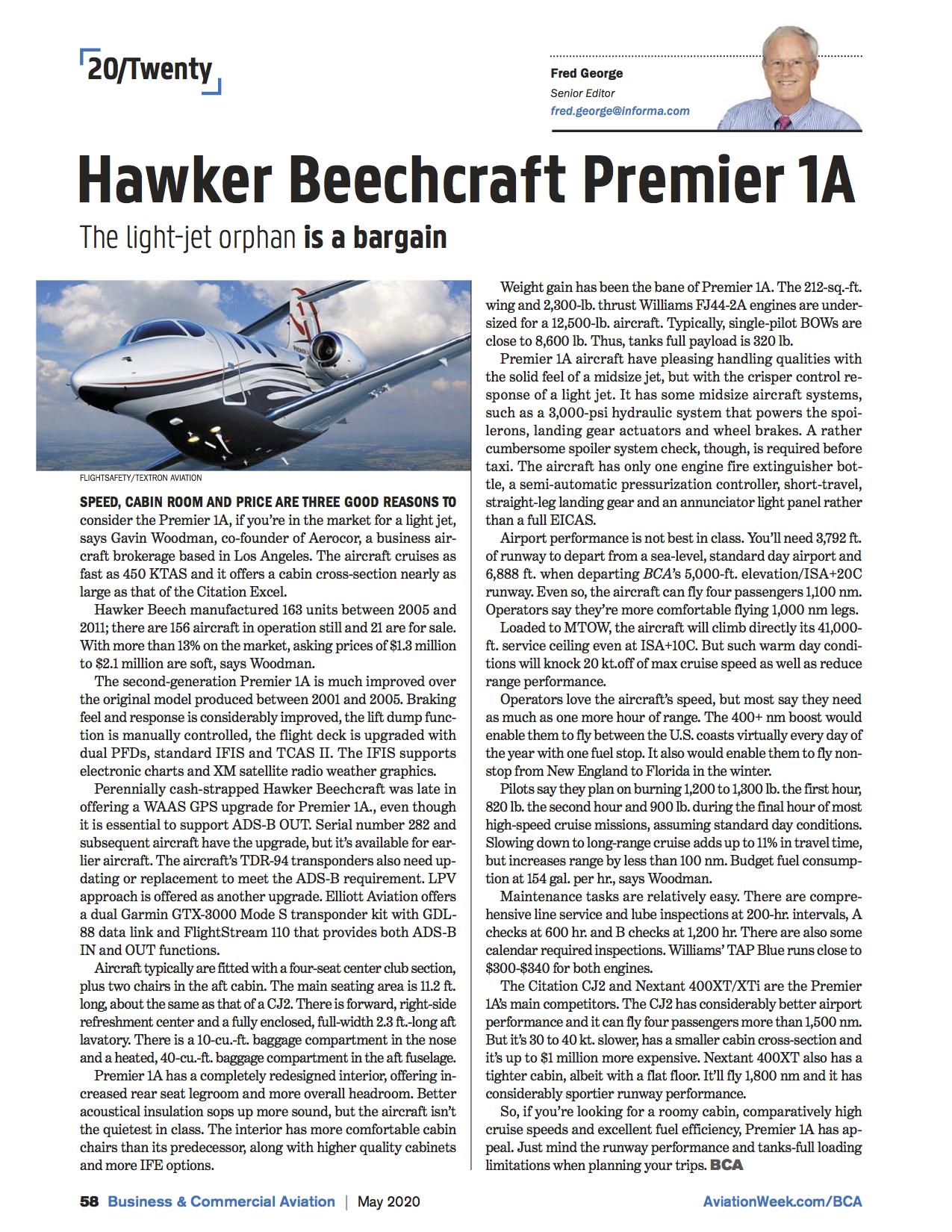 AEROCOR - Hawker Beechcraft Premier IA - Article